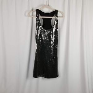 Express black sequined tank dress size S
